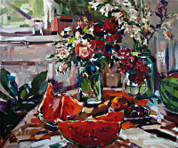 Натюрморт с розами и фруктами, холст/масло, 60x70, 2012г.